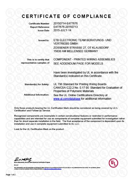 Zertifikat Underwriters Laboratories