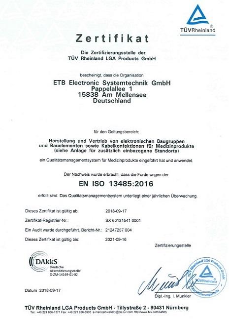 Zertifikat EN ISO 13485